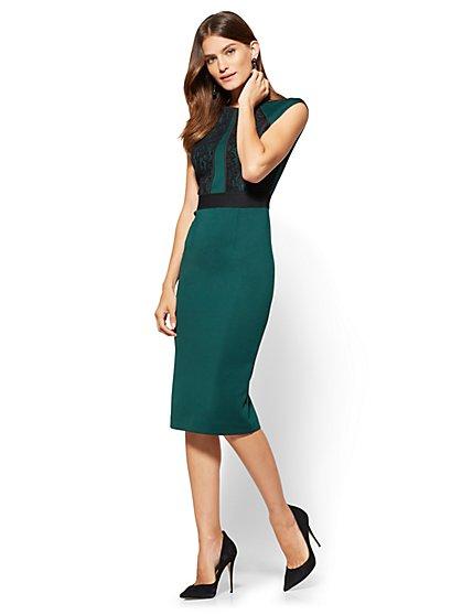 Lace-Detail Sheath Dress  - New York & Company