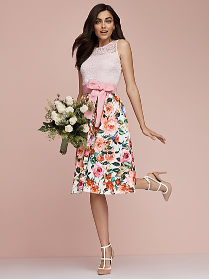 Lace Fit & Flare Dress – Floral Print - New York & Company
