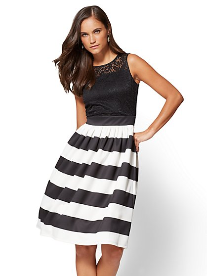 Lace Flare Dress - Black & White Stripes - New York & Company