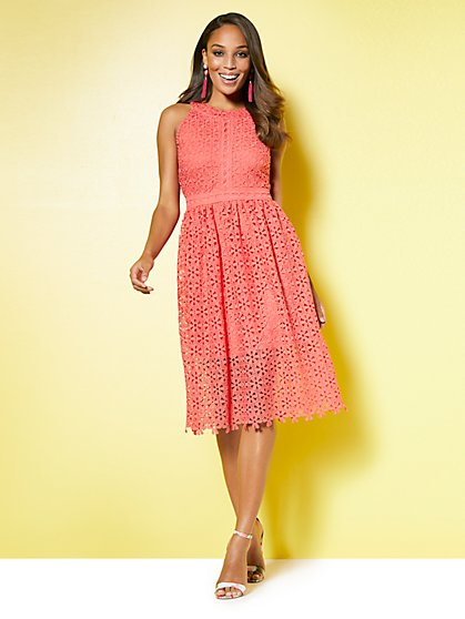 Lace Halter Fit and Flare Dress - New York & Company