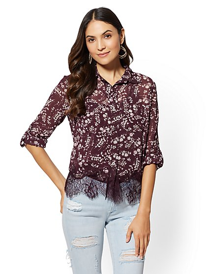 Lace-Hem Floral Blouse - New York & Company