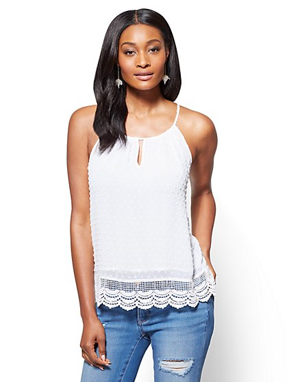 Lace-Hem Halter Blouse - New York & Company