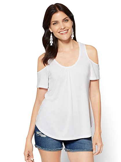 Lace-Inset Cold-Shoulder Top - New York & Company