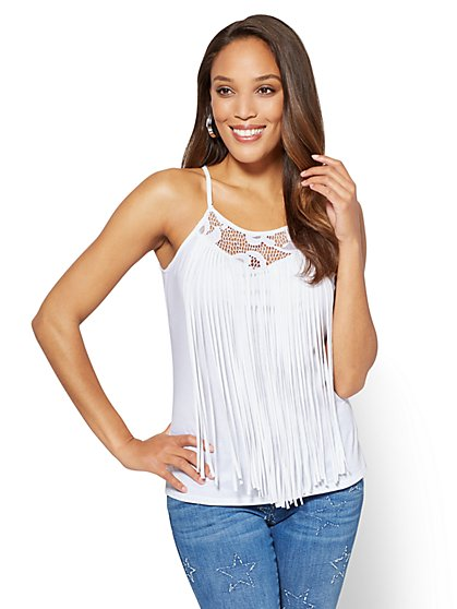 Lace-Inset Fringe-Trim Tank Top - New York & Company