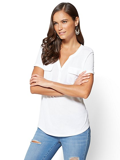 Lace-Inset Henley Top - New York & Company