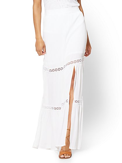 Lace-Inset Maxi Skirt - White - New York & Company