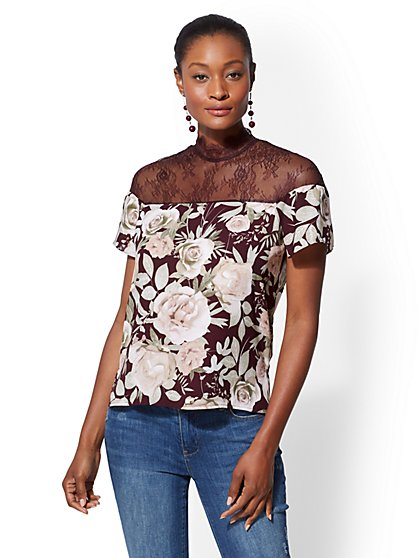 Lace-Inset Mock-Neck Top - New York & Company
