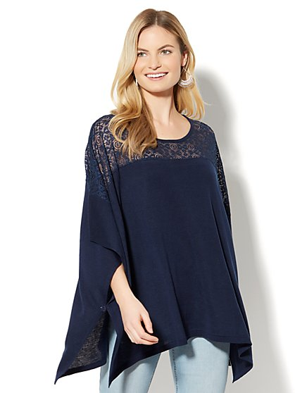 Lace-Inset Poncho - New York & Company