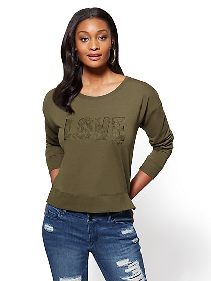 "Lace ""Love"" Graphic Logo Sweatshirt - New York & Company"