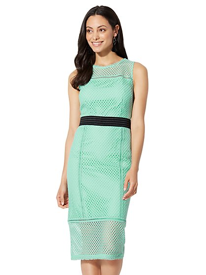 Lace-Mesh Sheath Dress - Petite - New York & Company