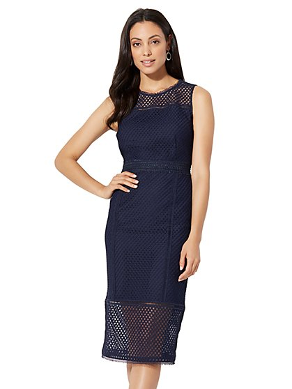 Lace-Mesh Sheath Dress - Tall - New York & Company