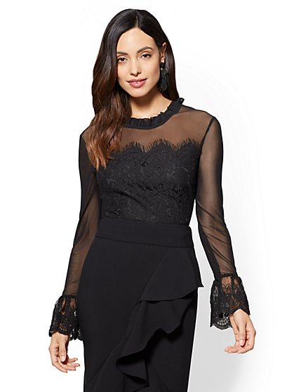 Lace Mock-Neck Bell-Sleeve Blouse - New York & Company