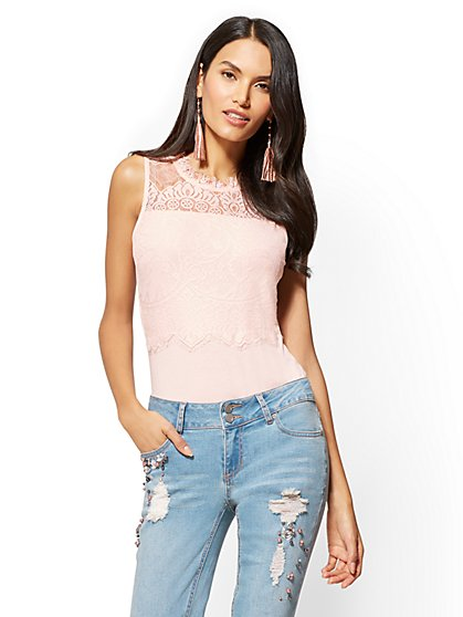Lace Mock-Neck Bodysuit - New York & Company