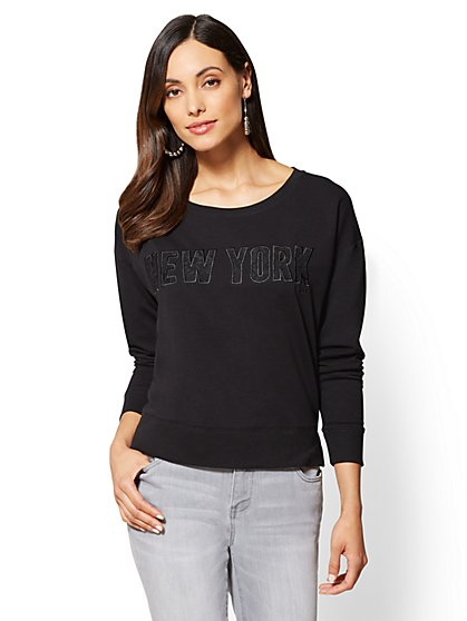 "Lace ""NYC"" Graphic Logo Sweatshirt - New York & Company"