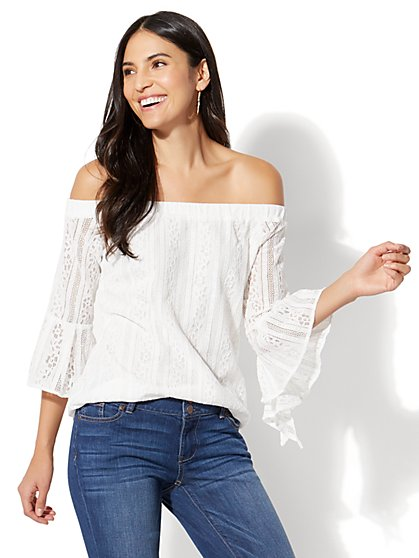 Lace Off-The-Shoulder Blouse - New York & Company
