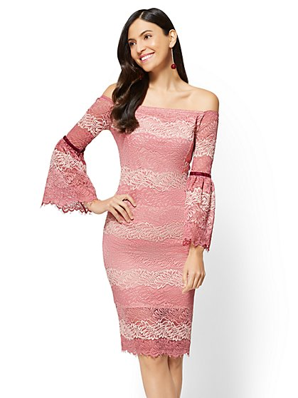 Lace Off-The-Shoulder Sheath Dress - New York & Company