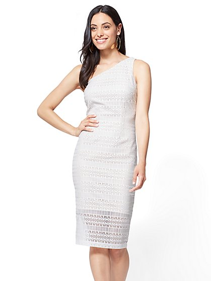 Lace One-Shoulder Sheath Dress - New York & Company