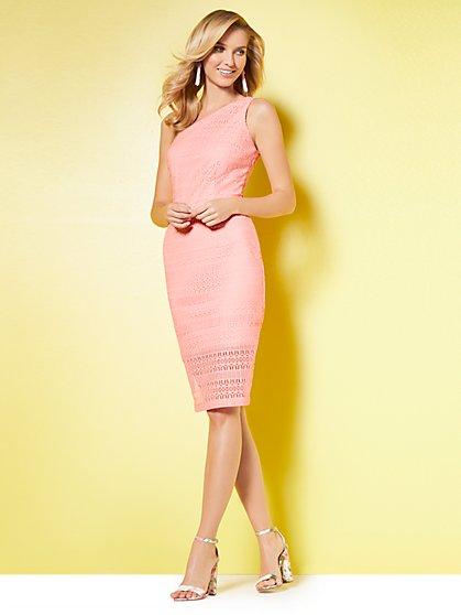 Lace One-Shoulder Sheath Dress - New York & Company
