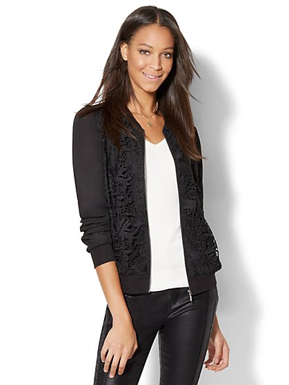 Lace-Overlay Bomber Jacket  - New York & Company