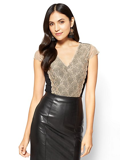 Lace-Overlay Cap-Sleeve Bodysuit  - New York & Company