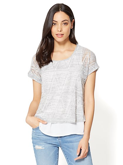 Lace-Overlay Cuffed-Sleeve Tee - New York & Company