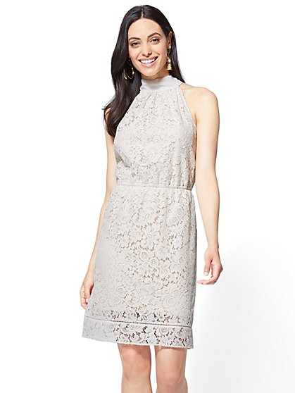 Lace-Overlay Halter Dress - New York & Company