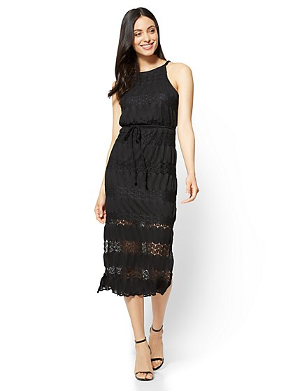 Lace-Overlay Halter Midi Dress - New York & Company