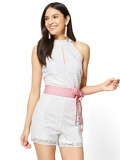 Lace-Overlay Halter Romper - New York & Company