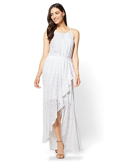 Lace-Overlay Hi-Lo Maxi Skirt - New York & Company