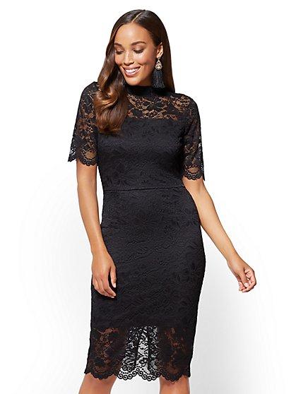 Lace-Overlay Midi Sheath Dress - New York & Company