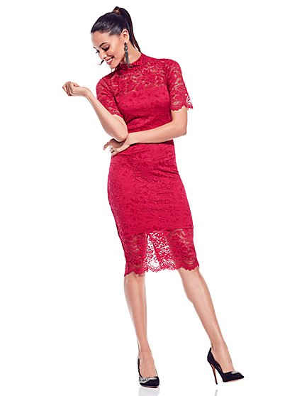 Lace-Overlay Midi Sheath Dress - New York & Company