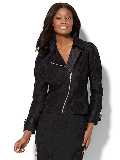Lace-Overlay Moto Jacket - New York & Company