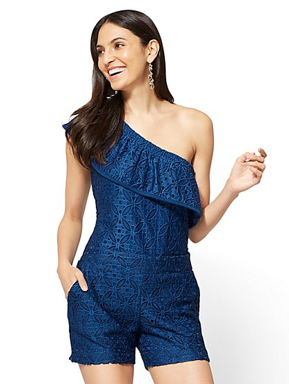 Lace-Overlay One-Shoulder Top - New York & Company