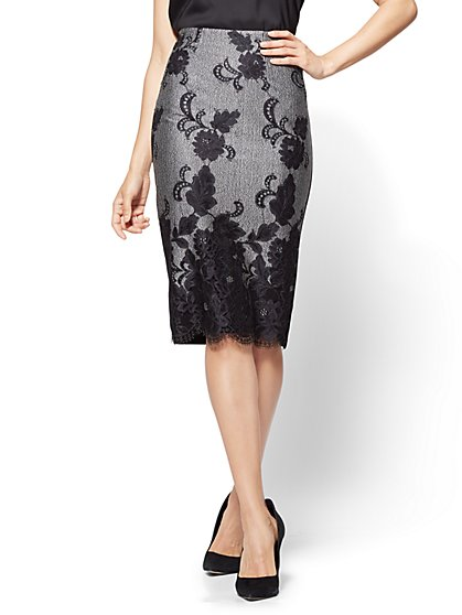 Lace-Overlay Pull-On Skirt  - New York & Company