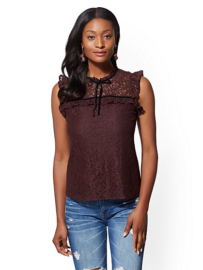 Lace-Overlay Ruffled Top - New York & Company