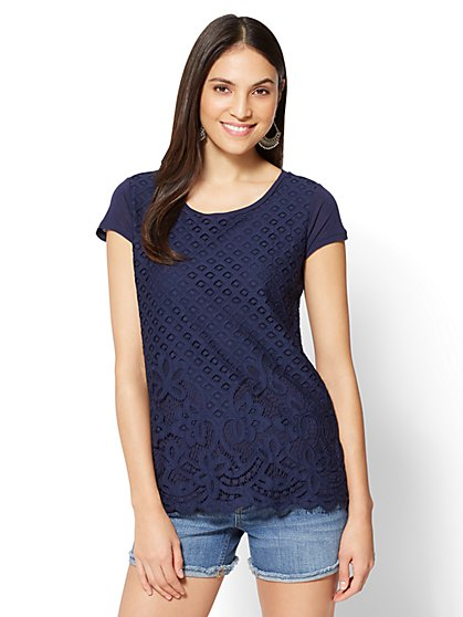 Lace-Overlay Scoopneck Tee - New York & Company