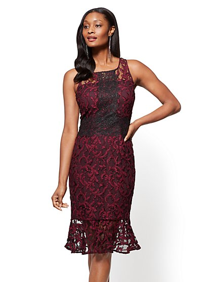 Lace-Overlay Sheath Dress - Burgundy - New York & Company