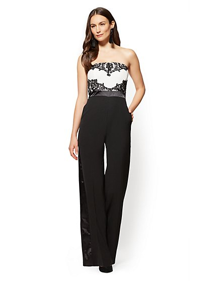 Lace-Overlay Strapless Jumpsuit - Black & White - Petite - New York & Company