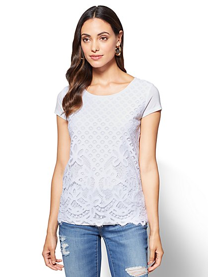 Lace-Overlay T-Shirt  - New York & Company