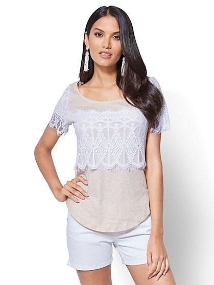 Lace-Overlay T-Shirt - New York & Company