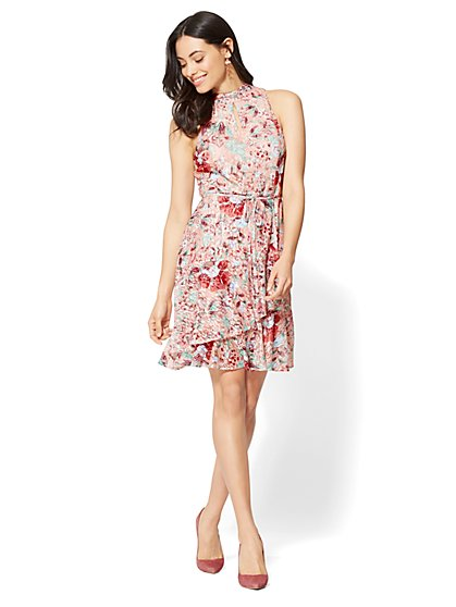 Lace-Overlay Wrap Dress - Pink - New York & Company