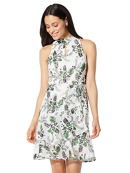 Lace-Overlay Wrap Dress - White - New York & Company