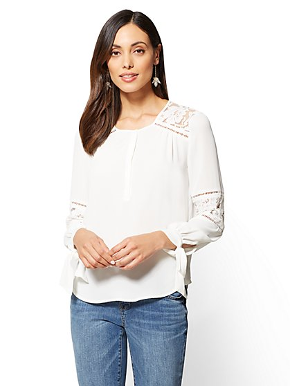 Lace Peasant Top - New York & Company