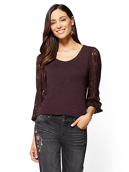 Lace-Sleeve Scoopneck Sweater - New York & Company