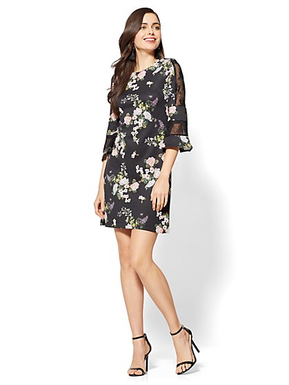 Lace-Sleeve Shift Dress - Black - New York & Company