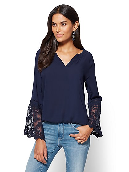 Lace-Sleeve V-Neck Blouse  - New York & Company
