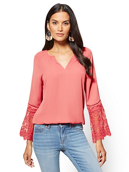 Lace-Sleeve V-Neck Blouse  - New York & Company