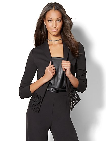 Lace-Trim Blazer - Black  - New York & Company
