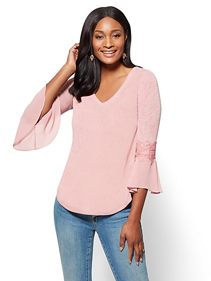 Lace-Trim Flounced Sleeve V-Neck Sweater - New York & Company
