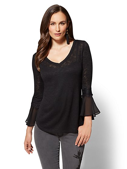 Lace-Trim Flounced Sleeve V-Neck Top - New York & Company